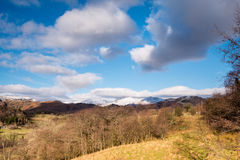 Snow covered Loughrigg Fell. View of Loughrigg Fell covered in snow from the Little Langdale road Stock Image