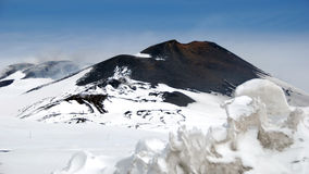 Snow-covered Main-crater of the Mount Etna, Royalty Free Stock Images