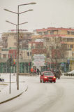 Snow-covered main street in Pomorie, Bulgaria Stock Photography