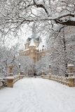 Snow covered mansion at winter park outdoor Royalty Free Stock Image