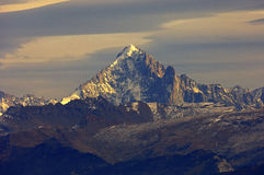 Snow-covered massif of Mt. Aiguille Verte Royalty Free Stock Photos