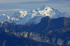 Snow-covered massif of Mt. Mont Blanc Royalty Free Stock Photo