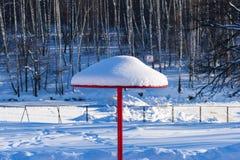 Snow covered metallic beach umbrella Stock Photography