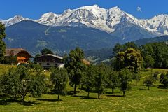 Snow-covered Mont Blanc massif. The snow-covered Mont Blanc massif, Megeve, Haute-Savoie, France stock photography