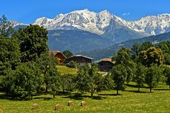 Snow-covered Mont Blanc massif. The snow-covered Mont Blanc massif, Megeve, Haute-Savoie, France stock image