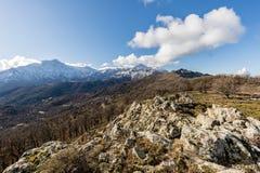 Snow covered Monte San Parteo and Asco mountains in Corsica Stock Photos