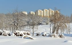 Snow-covered Moscow after a heavy snowfall. Famous Mitino Landscape Park Royalty Free Stock Image