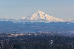 Snow Covered Mount Hood with Blue Sky Stock Image