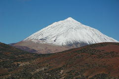 Snow covered mount teide. Tenerife, Spain Royalty Free Stock Photos