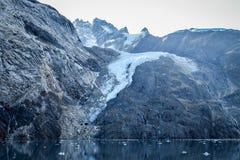 Snow covered mountain in Glacier Bay, Alaska stock photography
