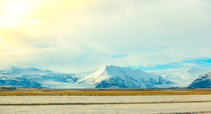 Snow covered mountain Iceland winter season . Royalty Free Stock Photography