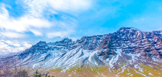 Snow covered mountain Iceland winter season . Royalty Free Stock Images