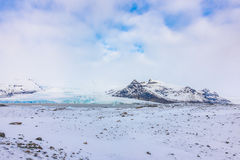 Snow covered mountain Iceland winter season . Stock Photos