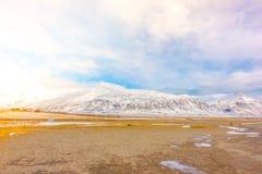 Snow covered mountain Iceland winter season . Stock Image
