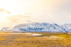 Snow covered mountain Iceland winter season . Royalty Free Stock Photos