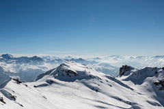 Snow Covered Mountain Landscape from a Mountain Top Stock Photography