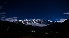 Snow Covered Mountain during Night Time Stock Image