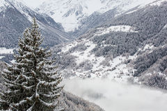 Snow covered mountain panorama Royalty Free Stock Images