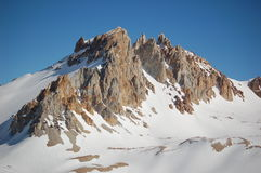 Snow-covered mountain peak, Argentina. Bright winter day in high mountains, Mendoza province, Argentina Royalty Free Stock Images