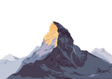 Snow covered mountain peak. Illustration of snow covered mountain peak against white sky Stock Photography