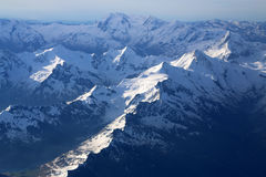 Snow-covered mountain peaks. Royalty Free Stock Image