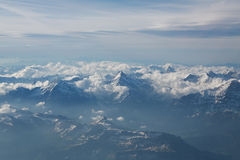 Snow-covered mountain peaks. Stock Photo