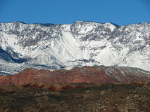 Snow Covered Mountain Peaks. A snow covered mountain with contrasting colors Stock Images