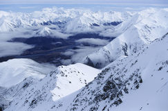 Snow-covered mountain range elevated view Stock Photography