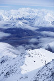 Snow-covered mountain range elevated view Royalty Free Stock Photo