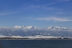 Snow-covered mountain range of the High Tatras. Winter Slovakia royalty free stock photography