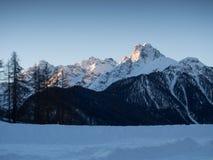 Snow-covered mountain range Stock Photos