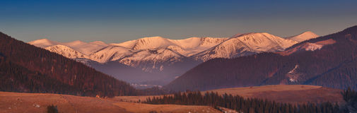 Snow-covered mountain range. winter landscape Stock Image