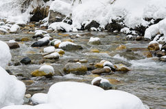 Snow-covered mountain river shot with long exposure Stock Photography