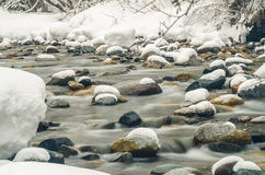 Snow-covered mountain river shot with long exposure Royalty Free Stock Image