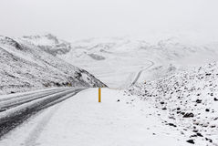 Snow covered mountain road Royalty Free Stock Images