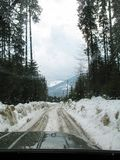 Snow-covered mountain road. View from the car window royalty free stock image