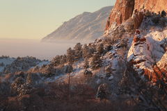 Snow Covered Mountain scape Stock Images