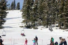 Snow covered mountain slopes of Mt. Shasta Ski Park Stock Images