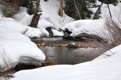 Snow-covered mountain stream. Royalty Free Stock Photography