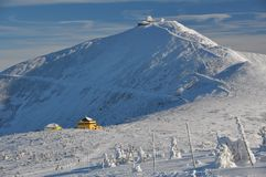 Snow-covered mountain top Stock Photography