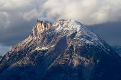 Snow covered mountain top in tirol. Hohe Munde near Innsbruck - Austria Royalty Free Stock Images