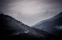 Snow covered mountain and valley. In greece Stock Photo