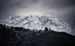 Snow covered mountain and valley. In greece Stock Photography