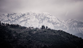 Snow covered mountain and valley. In greece Stock Images