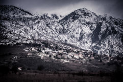 Snow covered mountain and valley. In greece Royalty Free Stock Image