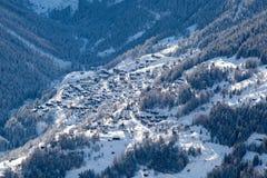 Snow-covered mountain village Royalty Free Stock Photo