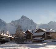 Snow-covered mountain village Stock Photography
