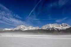 Snowcovered mountain `Wilder Kaiser` Tirol, Austria. stock photo