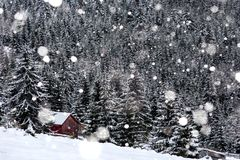 Snow covered mountain wooden hut. Barn in the mountains at winter during heavy snowfall Royalty Free Stock Photography