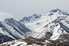 Snow covered mountains. Scenic view of snow covered Mount McKinley foothill mountains in Denali National Park, Alaska, U.S.A Royalty Free Stock Photos